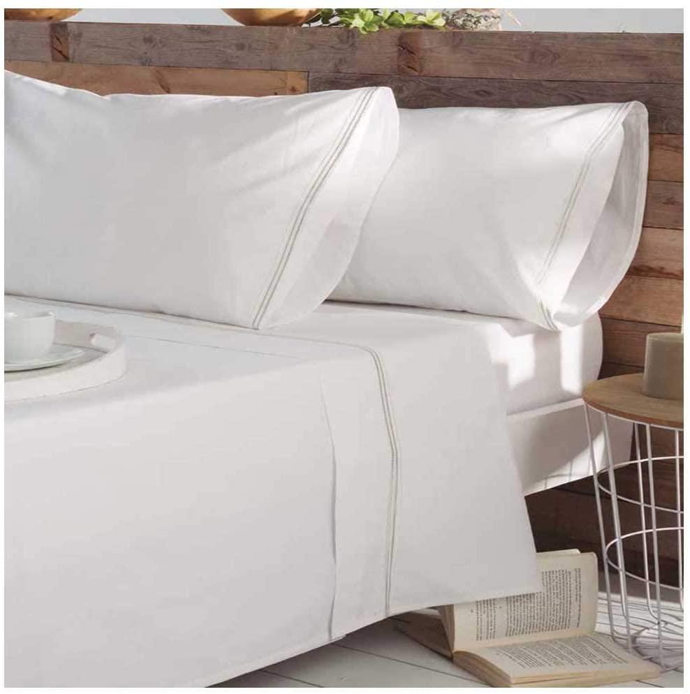 Juego de Sabanas Blancas Bordadas de percal de algodon