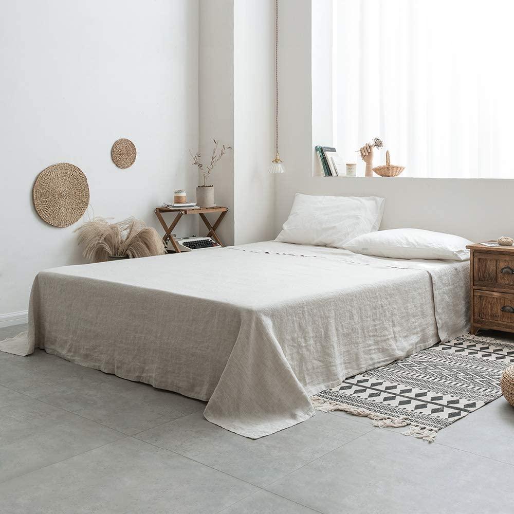 sabana bajera lino lavado cama 150