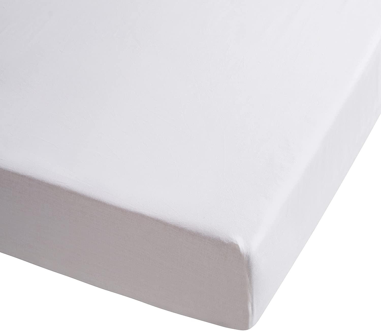 sabana bajera blanca de percal de algodon 100%