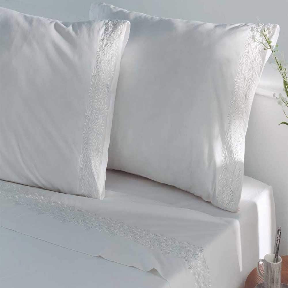 juego sabanas bordadas percal 200 hilos algodon 100% color blanco