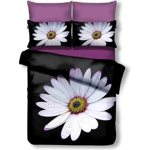 funda nordica 3D barata con diseño floral en colores negro, violeta y blanco