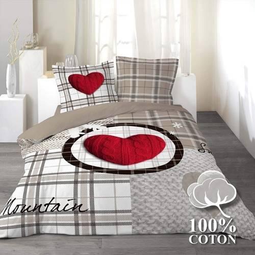 ropa de cama 3D romantica y chic con corazon rojo