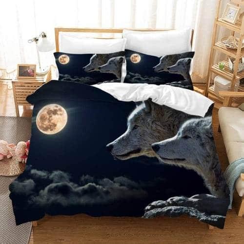 sabanas impresion 3d con lobos y luna llena en colores oscuros