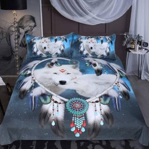 juego de cama 3d con lobos y corazones