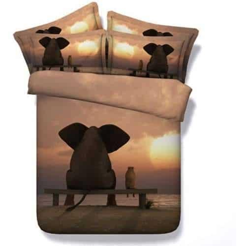 juego de cama 3D con elefante en sabana y puesta de sol
