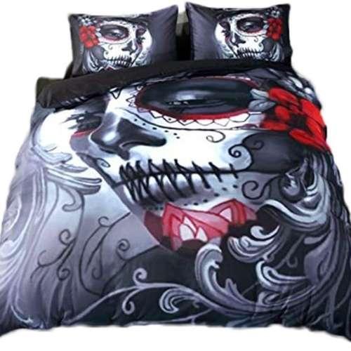 edredon con calavera pintada para Halloween, estilo gótico