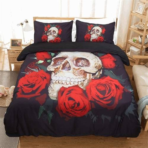 sabanas con calaveras entre rosas rojas