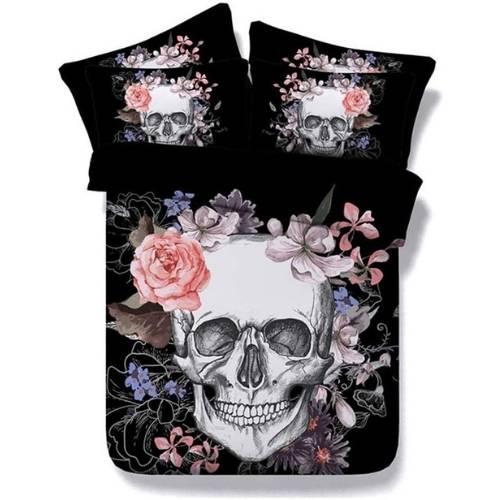 ropa de cama con calaveras, rosas o otros elementos florales.