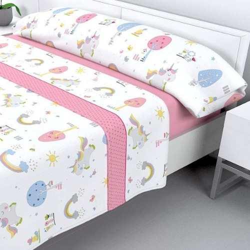 sabanas sedalina para niñas en color rosa y blanco